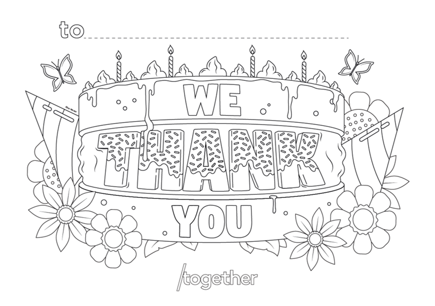 'Thank you' template with flowers