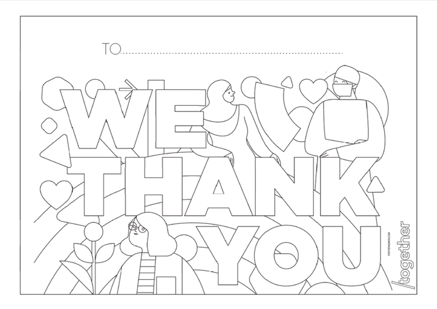 'Thank you' template with people and flowers