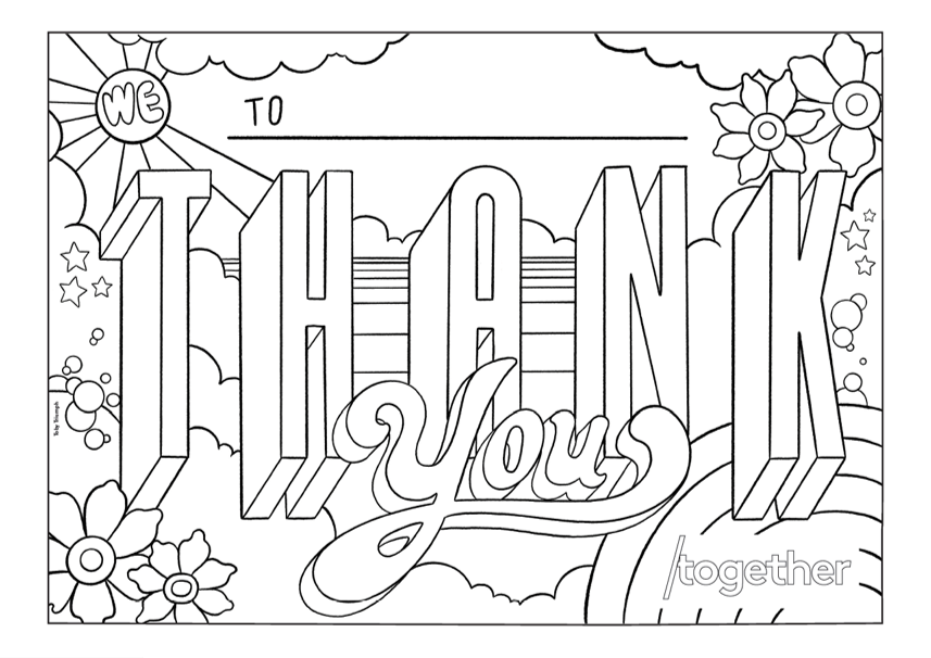 'Thank you' template with sun and flowers