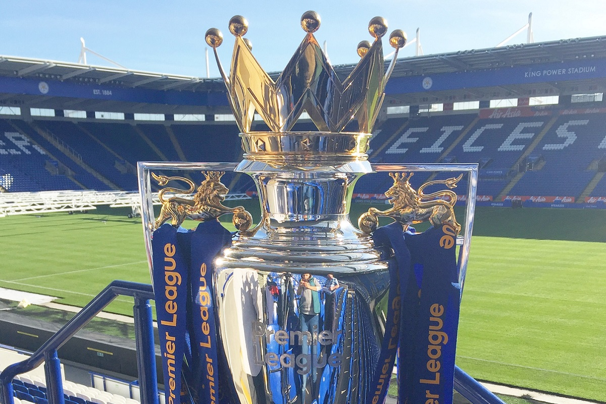 The Premier League trophy in Leicester City's King Power Stadium.